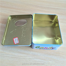 promotional rectangular metal candy tin can with hinge