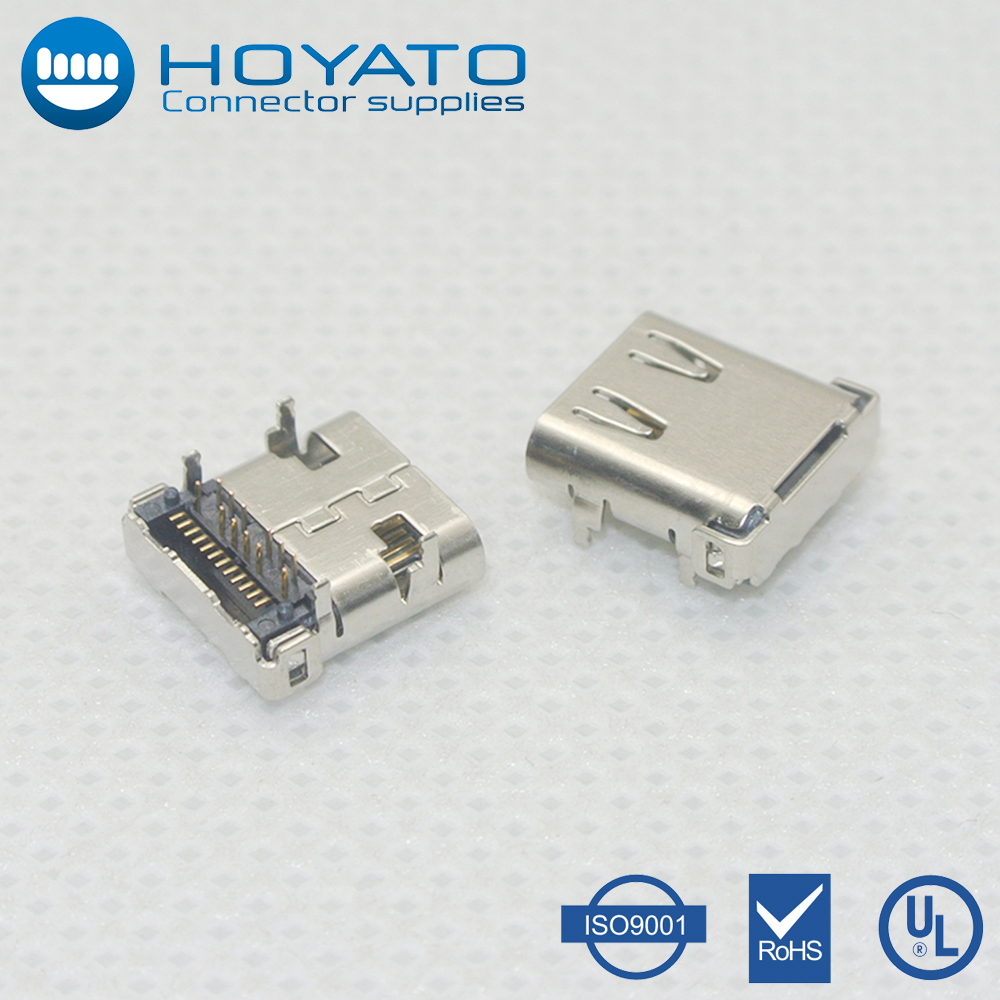 Mobile charge 24pin USB 3.1 C type female SMT+DIP socket PCB receptacle connector R/A,H=3.71mm usb c type female smt connector
