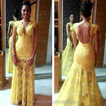 Sexy Mermaid Daffodil Lace Prom Dress Open Back Women Prom Gown
