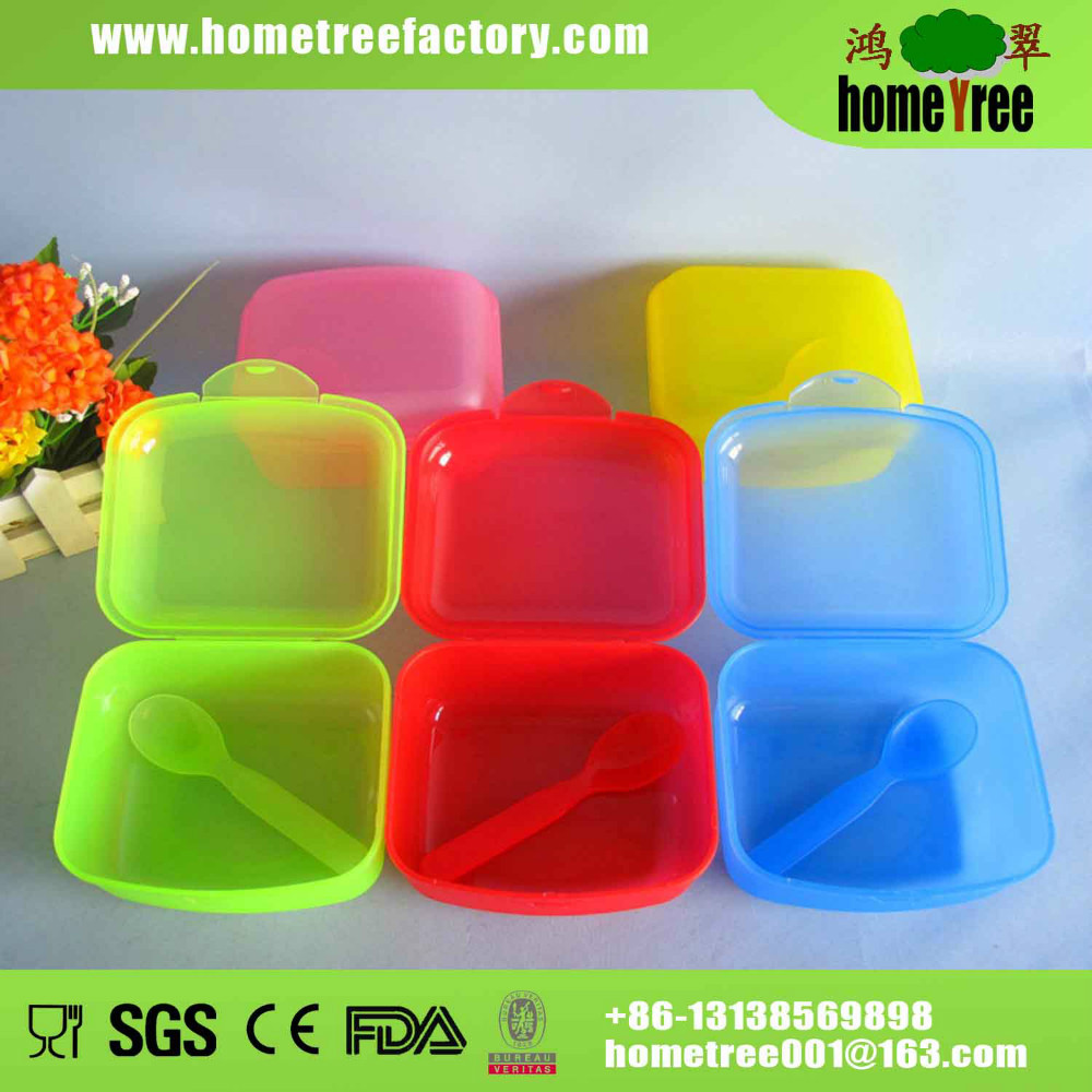 Colorful cheap plastic food box with hinged lid