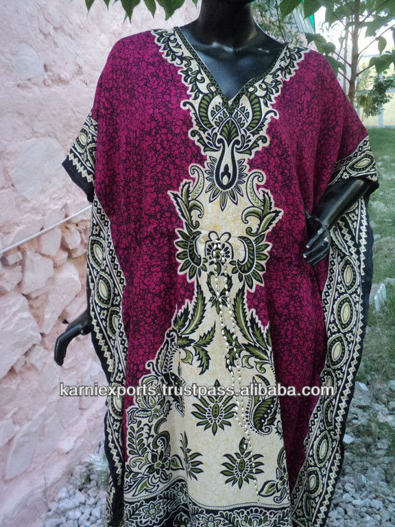 Best quality Traditional printed polyester kaftan dress / womans wear beachwear evening dress