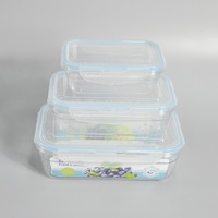 3 pieces microwave plastic insulated food warmer container
