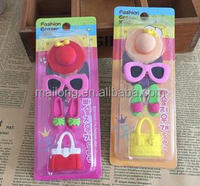 Fancy rubber suction plate cartoon hat girls play house glue wash glasses high-heeled shoes bag pn6829