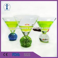 wholesale hand blown unique shape Clear Stemless Martini glass with ball stem, martini glass with bubble