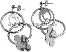 2014 Fashion basketball wives earrings with silver hoop