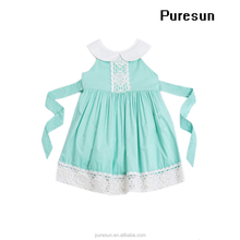 2017 new fashion baby girls remake smocked sleeveless boutique lace trim jumper pearl dress