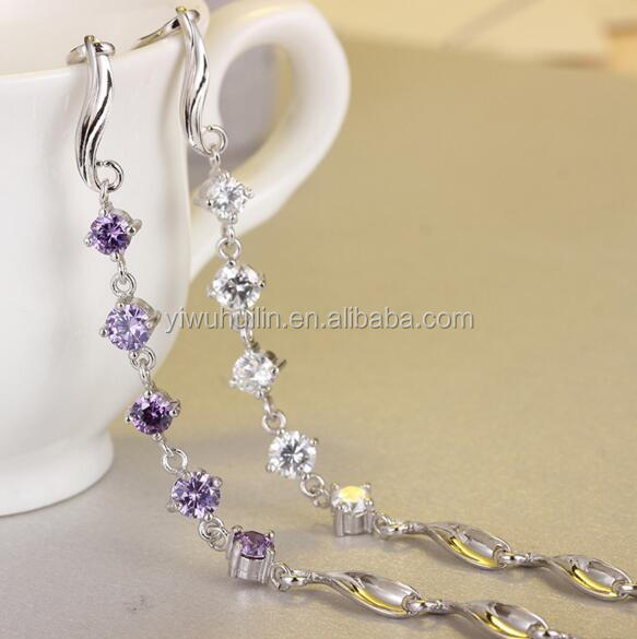 YFY5015 Yiwu Huilin Jewelry Wholesale New Design Purple natural crystal silver bracelet charms