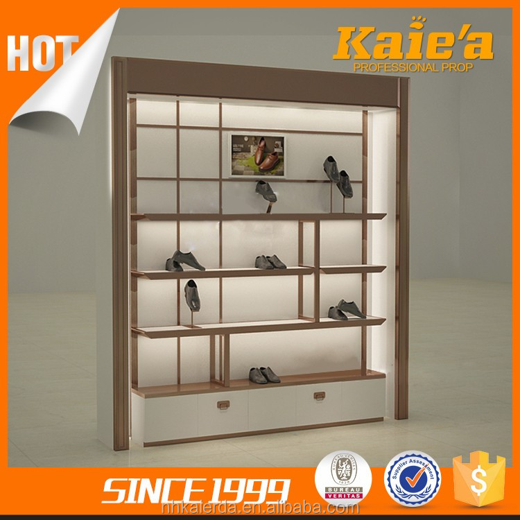 Fashion shoes shop wooden furniture shoes showcase designs