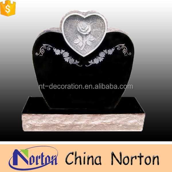 Carved cheap heart shaped black granite tombstone and monument NTGT-014L