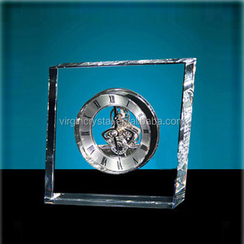 Elegant fashion design crystal cube mechanical as table clock