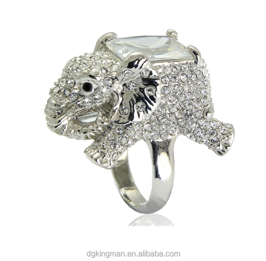 Lovely animal jewelry design Kingman elephant crystal rings