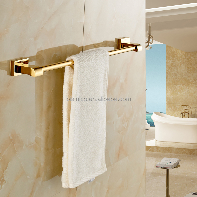 European Palace Style Bathroom Solid Brass Gold Plated Single Pole Towel Bar
