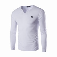 Free Shipping Stylish V-neck Blank Solid Color Long Sleeve T-shirts M-2XL