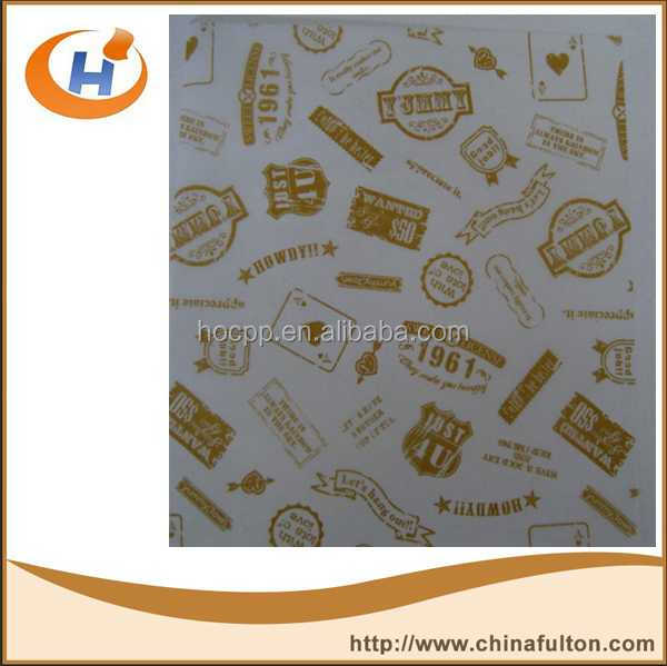 35GSM printing wax paper printable wax coated waterproof greaseproof food paper for burger sandwich wrapping paper printed