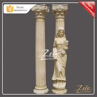 Natural Marble Hand Carved beige marble stone column