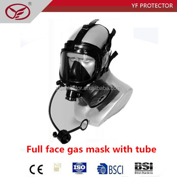 Wide vision Full face gas mask with tube for closet mission