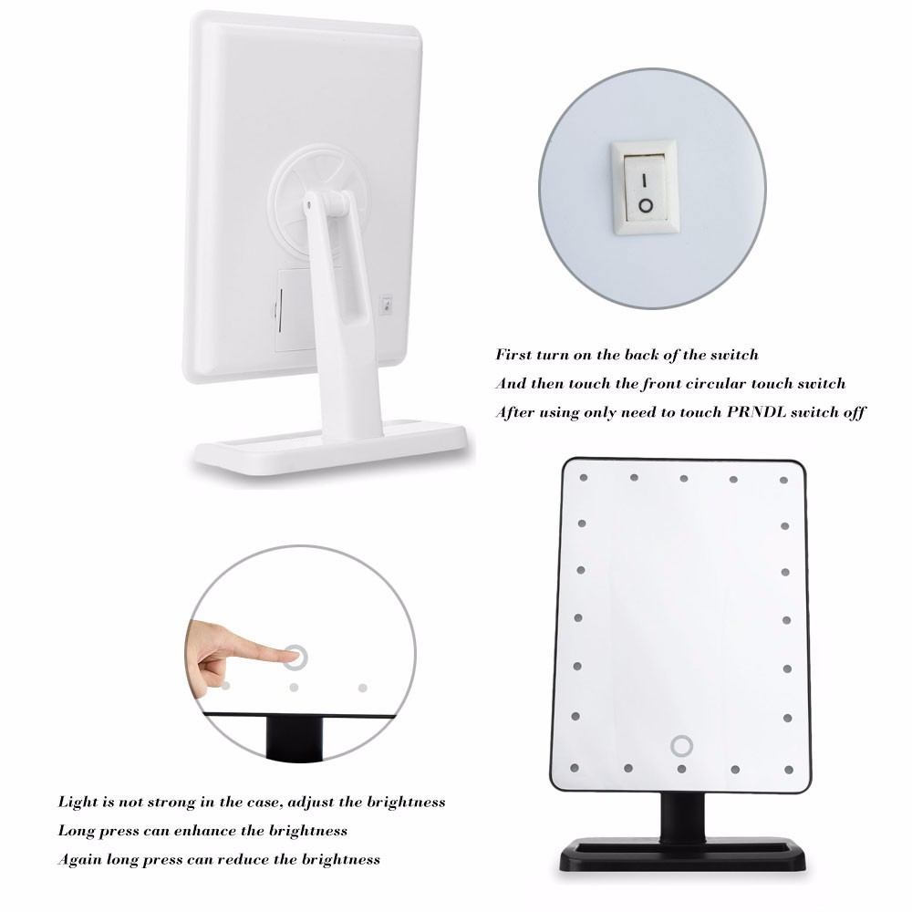 White/Black 20 LED Lights Makeup Cosmetic Mirror 180 Degree Rotate Mirrors with Removable 10x Magnifying Mirrors