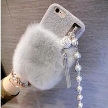 In stock elegant design Rabbit Hair Protective mobile phone Back Cover Case For iPhone 6 & 6s with Diamond Pendant Lanyard