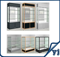 Aluminium free standing glass jewelry showcase/ glass display cabinet with led lights