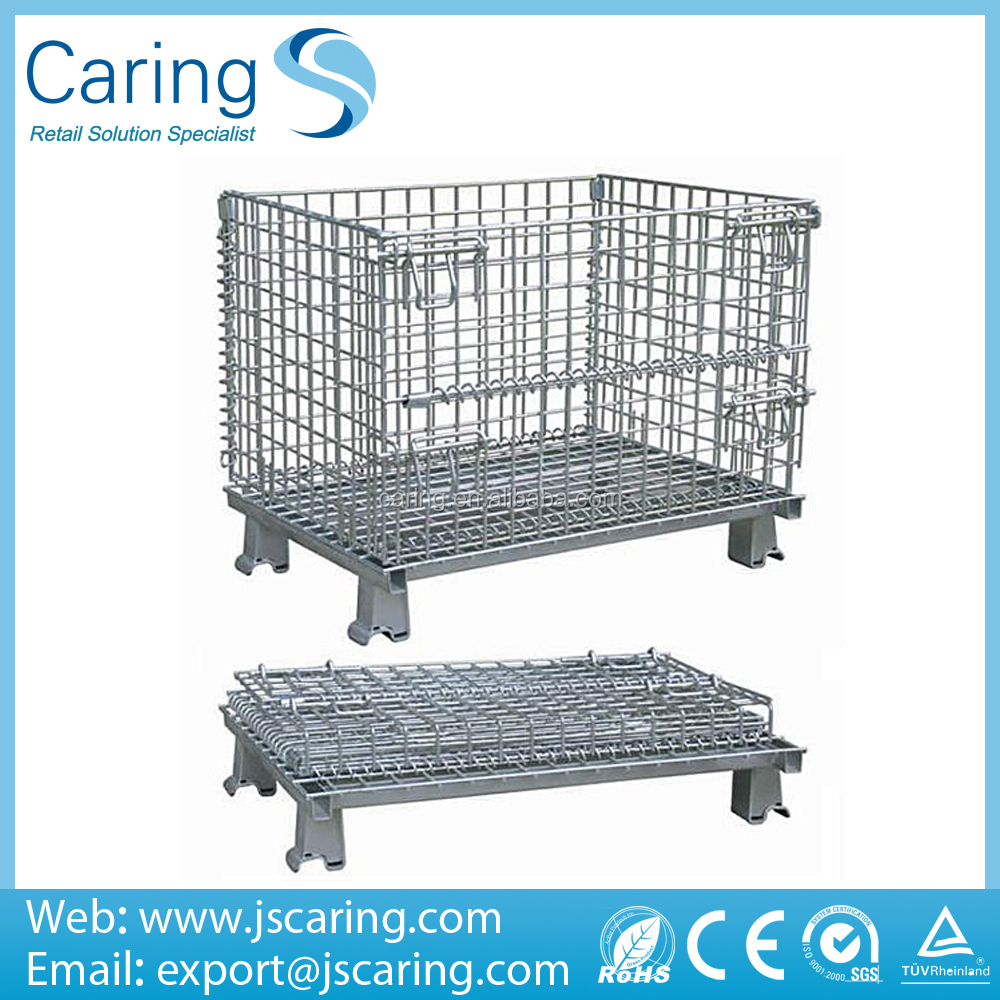 Foldable Mesh Box Wire Rolling Container Metal Cage For Storage