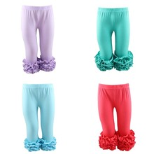 Kaiyo knit wear baby clothes factory with kids ruffle leggings 100% cotton fabric kids jogger pants