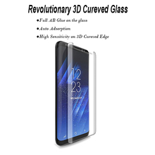 New Tech Full AB Glue Automatically Achieved 9H Hardness 3D Curved Full Size Tempered Glass Screen Protector for Galaxy S8 S8+