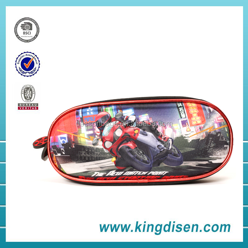 Fancy 3d EVA hard motorcycles pencil case for cool boys