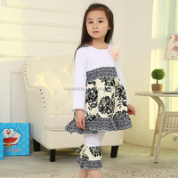 Fashion Girls Boutique Clothes White & Black Floral Ruffle Tunic Top and Ruffle Pant Outfit