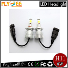 Auto 8W 6000K H11 880 881 H3 COB LED Headlight Kit Car Driving fog light Bulbs Slim Fanless White Ice blue yellow color