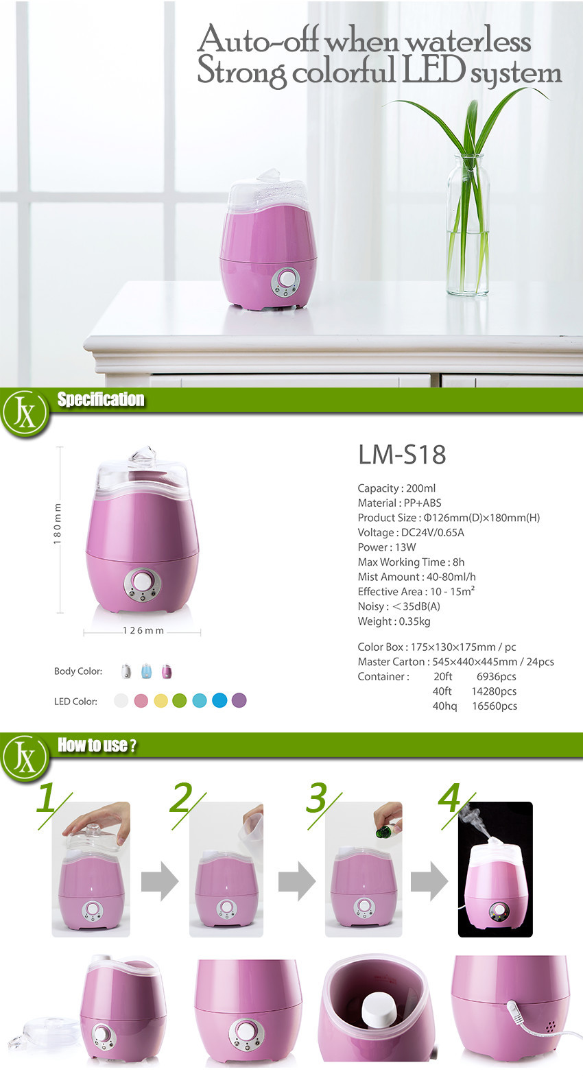 200ml cool mist led light fragrance ultrasonic diffuser