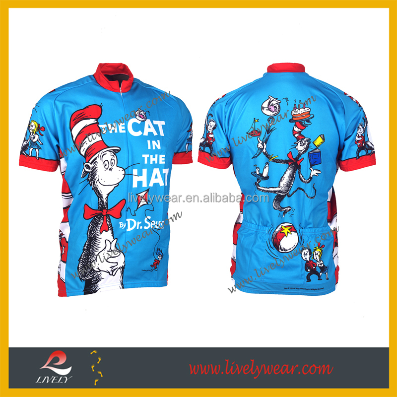 Livelywear--Hot sales cartoon sublimation custom team mountain bike jersey, kids cycling wear
