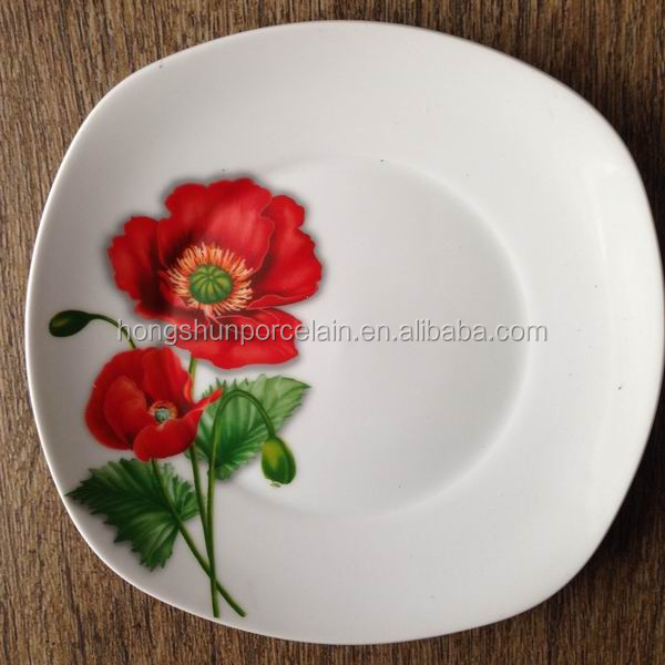 light weight dinner plates / porcelain square dishes / porcelain unbreakable plates