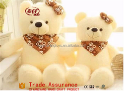 1.8m White teddy bear cheap animal plush toy, plush white teddy bear with scarf
