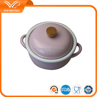 High quality custom rolled rim pink ceramic coating enamel cookware set