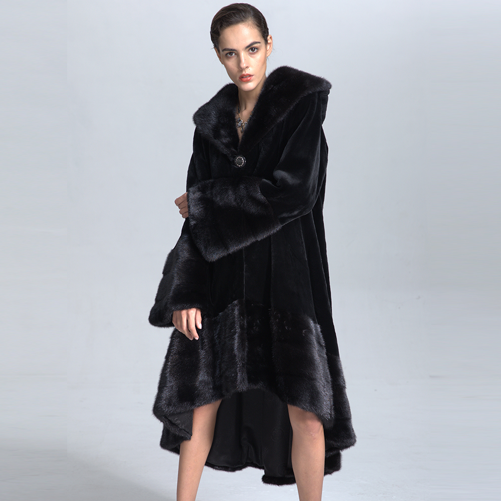 2017 Top Quality Professional Women Luxurious Mink Fur Overcoat