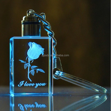 Beautiful Rose Flowers Led Light 3d blank laser engraving crystal glass keychain
