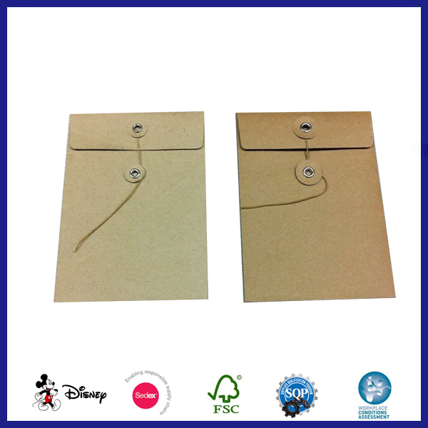 mini gold kraft envelopes with string