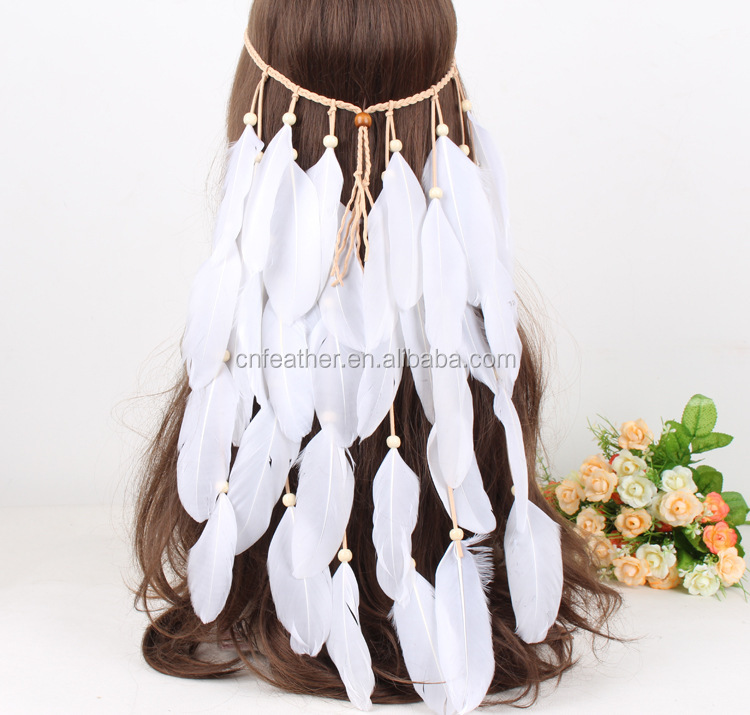 Wholesale India Carnival Feather HEADBAND White feather bridal wedding headband