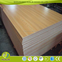 Supply 14mm Wooden Grain Color Melamine MDF as furniture