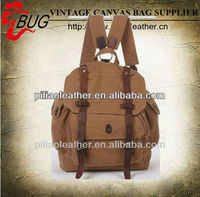 BUG best selling vintage canvas manufacture hiking,travelling and school student backpack bag