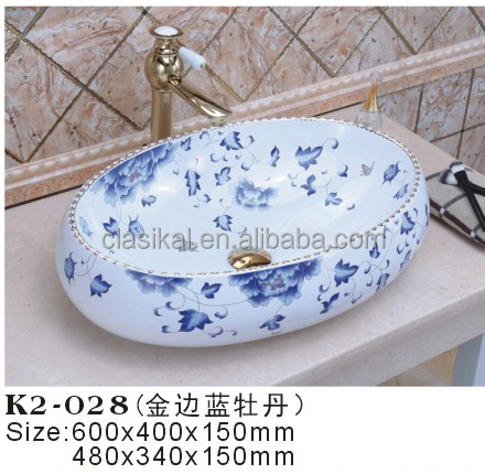 Sanitary ware Customized color above counter mounting bathroom wash basin