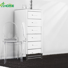 Pure modern clear glass mirrored tall boy chest of 6 drawers living room furniture