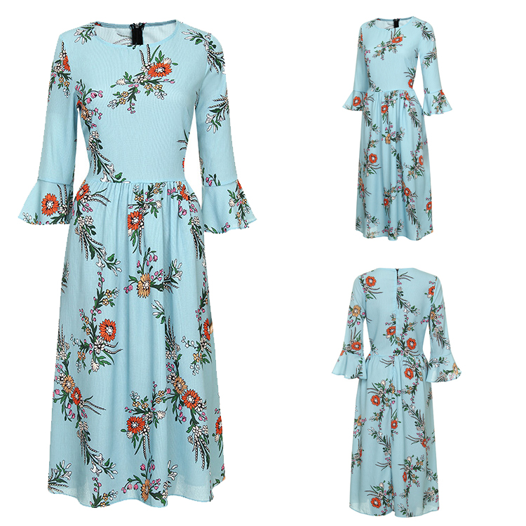 Bulk Wholesale Clothing Hot Selling 3/4 Flared Sleeve Print Women Floral Dress
