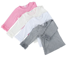 Wholesale 2016 Infant/toddler baby pure white/pink/grey/ivory cotton double ruffle girls long sleeves t shirt