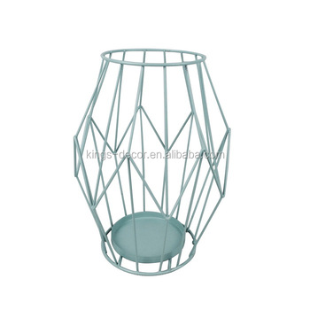 Blue iron wire metal candle holder