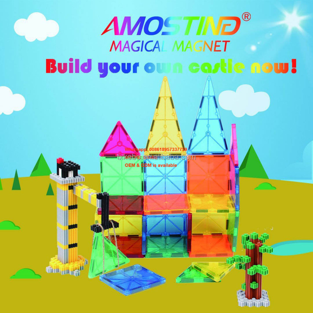 AMOSTING Magnetic Blocks Building Set Magnet Tiles Educational Construction Toys for Boys and Girls Kids Clear Rainbow Color