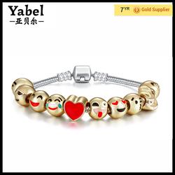 Emoji Charm Bracelet 18k Gold Plated bead jewelry for women bracelet emoji beads