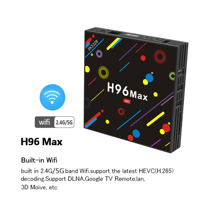 newest smart tv box H96 MAX H2 quad core funciona amlogic RK3328 android 7.1 4G 32G firmware update android set top box