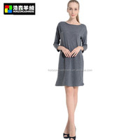 Grey Long Sleeve Pullover Dress, Grey Knitted Pattern Cashmere Pullover Dress