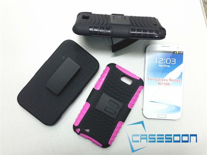 Mobile Phone Hybird Hard Case Holster Belt Clip Combo Stand Case For Samsung Galaxy Note2 N7100